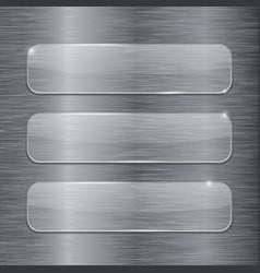 transparent glass plates on metal brushed vector image