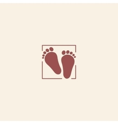 Child pair of footprints icon Toddler barefoot vector image