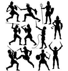 female gladiator silhouettes vector image