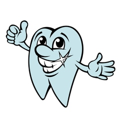 Happy cartoon tooth in clean condition vector image vector image