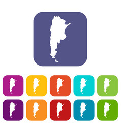 map of argentina icons set flat vector image vector image