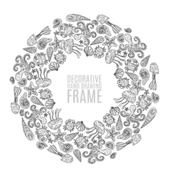 Seashell border frame ocean pattern vector image