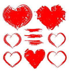 Set of hand drawn hearts isolated on white vector image vector image