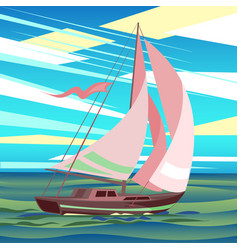 stylized sea landscape with sailboat floating on vector image vector image
