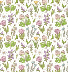 Wild floral colorful seamless pattern background vector image vector image