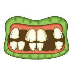zombie teeth icon cartoon style vector image