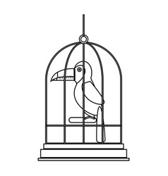 cute bird toucan in cage mascot vector image