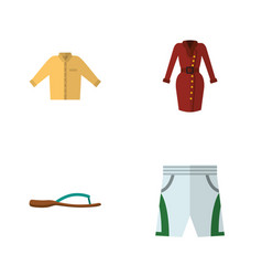 Flat icon dress set of beach sandal trunks cloth vector