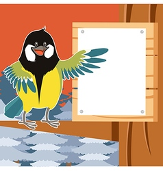 Happy titmouse on the tree winter flat background vector