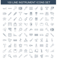 100 instrument icons vector image