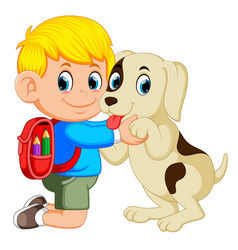 a boy with backpack bag hugging his dog vector image