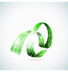 Abstract green shiny ribbons vector