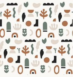 Abstract seamless pattern hand drawn shapes and vector