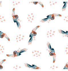 abstract seamless pattern with colorful toucans vector image