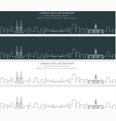 adelaide single line skyline profile banner vector image