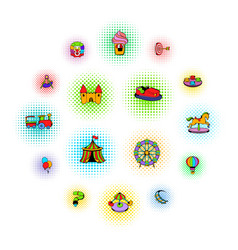 amusement park set icons comics style vector image