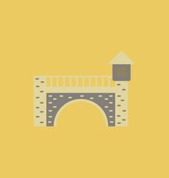 Ancient stone arch bridge vector