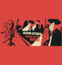 Banner for science fiction movies festival vector
