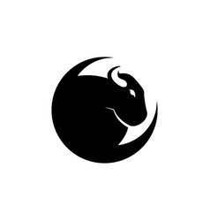 bison or bull logo template with crescent moon vector image