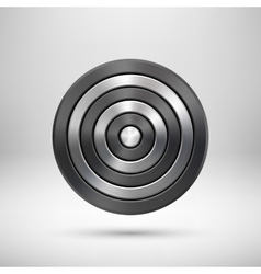 Black Abstract Technology Circle Metal Badge vector