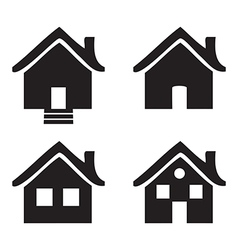 Black and white flat icons Homes isolated vector image