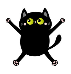 black cat nail claw scratch falling down kitten vector image