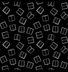 books dark seamless pattern in outline vector image