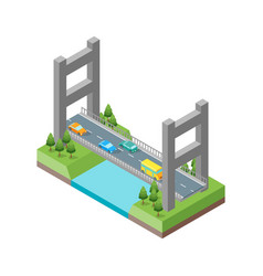 bridge with cars isometric view vector image