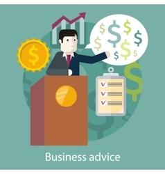 Business advice cartoon speaker on podium vector