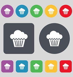 cake icon sign A set of 12 colored buttons Flat vector image