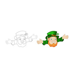 cartoon leprechaun in green frock coat with hat vector image