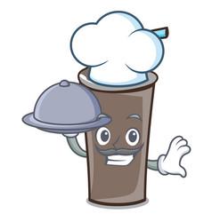 chef with food ice chocolate mascot cartoon vector image