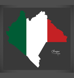 chiapas map with mexican national flag vector image