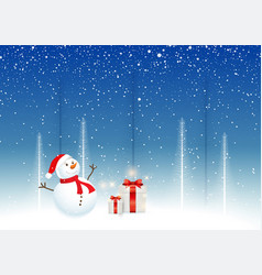 christmas background with snowman and gifts vector image