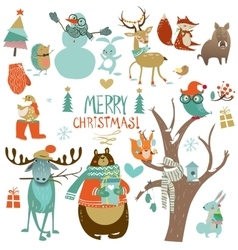 christmas set with wild animals vector image