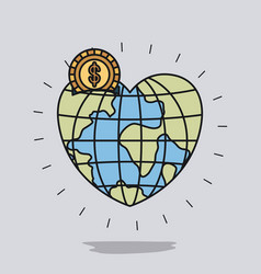 Color image background with money box in globe vector