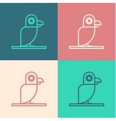 Color line pirate parrot icon isolated on color vector
