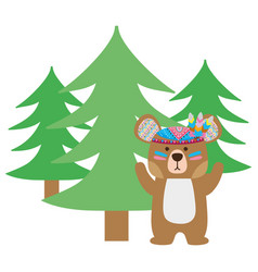 colorful ethnic bear animal with pine trees vector image
