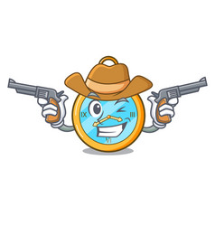 Cowboy pocket vintage watch on a cartoon vector