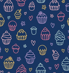 Cupcakes outlined colorful seamless pattern vector
