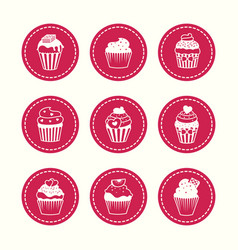 Cupcakes round icons set vector