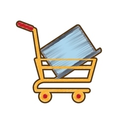 drawing shopping cart online laptop technology vector image