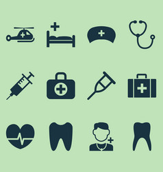 Drug icons set collection device physician vector