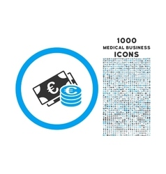 Euro Cash Rounded Icon with 1000 Bonus Icons vector image