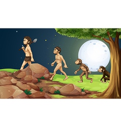Evolution of man in the hilltop vector