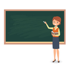 Female teacher is writing chalk on a blackboard vector