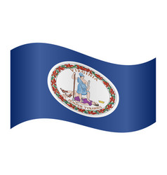Flag of virginia waving on white background vector