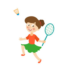 Flat girl playing badminton shuttlecock vector