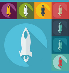Flat modern design with shadow icon rocket vector