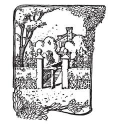 garden entrance volterra vintage engraving vector image